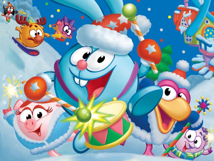 Смешарики плакат с новым годом